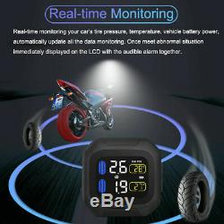 CAREUD Motorcycle TPMS Tyre Tire Pressure Monitoring System +2 Sensor Waterproof
