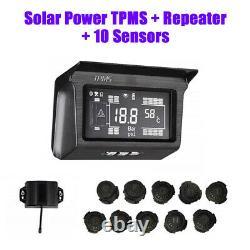 Digital Solar Power TPMS Tire Pressure Monitor System 10 Sensor For Trailer Bus