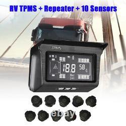 Digital Solar TPMS Tyre Pressure Monitor System + 10 External Sensors For Bus RV