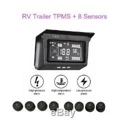 LCD Solar Power TPMS Tire Pressure Monitor System 8 Sensor & Repeater For Van RV