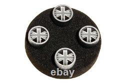 Land Rover Genuine Tyre Valve Cover Grey & Black Union Jack Design Set LR027666