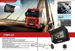 Solar Power TPMS Tyre Pressure Monitoring System 12 Sensor with Repeater For Truck