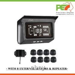 Solar TPMS Tyre Tire Pressure Monitoring System for Truck RV Caravan 8 Sensor