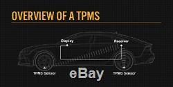 TPMS Solar Power Tyre Pressure Monitoring System LCD Internal Valve Sensors x 4