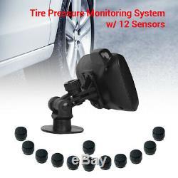 TPMS Tyre Pressure Monitor System + 12 External Sensor + Repeater For RV Trailer