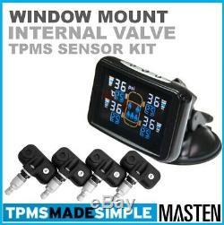 TPMS Tyre Pressure Monitoring LCD System Internal Valve Sensors x 4 Car, Carava