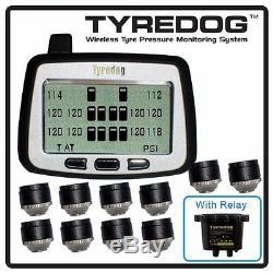 TYREDOG TD2000 10 Wheel Sensor Tire Pressure Monitor for RV, Trucks and Dullies