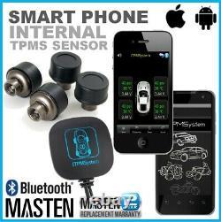 Tyre Pressure Monitor System TPMS Bluetooth Car Motorcycle 4Cap Sensors Extern