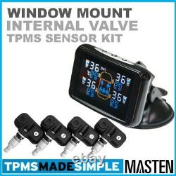 Tyre Pressure Monitoring System LCD Internal Valve Front & Rear Sensors For Car