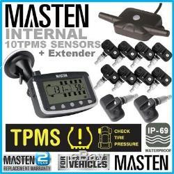Tyre Pressure Monitoring System LCD TPMS Internal Valve Sensors x 10 4WD Caravan