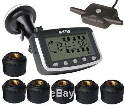 Tyre Pressure Monitoring System TPMS External Cap Sensors x 6 LCD Wireless Truck