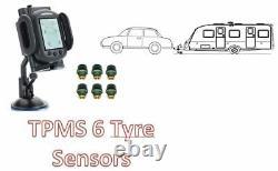 Tyre Pressure Monitoring System for CAR, CARAVAN, 4WD, VAN 6 tyre sensors