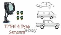 Tyre Pressure Monitoring System for Car, 4wd, Caravan, Van, truck 4 tyre sensors