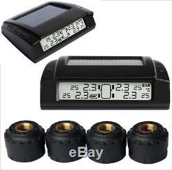 Tyre Pressure Monitoring TPMS System Solar Powered LCD External Cap Sensors x 4