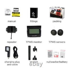 Van Wireless Solar Power TPMS Tyre Pressure Monitor System 12 Sensor with Repeater