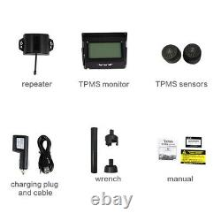 Wireless Digital Solar TPMS Tire Pressure Monitor System 10 Sensor For Truck RV