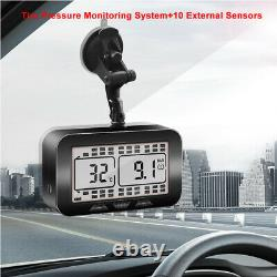 Wireless LCD TPMS Tire Pressure Monitoring System For RV + 10 External Sensors
