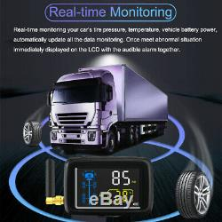 Wireless TPMS Truck Trailer Tire Pressure Monitoring System, 22 Tires Black