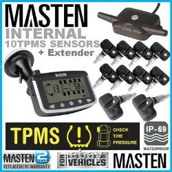 10 Tpms Tyre Pressure Monitoring System Caravan Truck Rv 10 Capteur LCD 4wd Wire