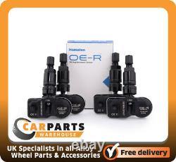 4 X Bmw 1,2,3 Série Tpms Sensor. Capteur De Moniteur De Pression De Pneus Programmé Noir