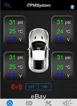 / Bluetooth Itpms Pneus Tensiomètre Système Auto Moto Cap Android Iphone