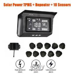 Digital Solar Power Tpms Système De Surveillance De La Pression Des Pneus 10 Capteur Pour Bus Remorque