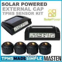 Externe Cap Pression Des Pneus Tpms Surveillance Système Solaire LCD Capteurs X 4