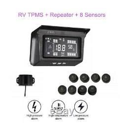 LCD Énergie Solaire Tpms Système Pneus Moniteur De Pression 8 Capteur Et Répéteur Pour Van Rv