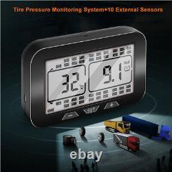 Solar LCD Tpms Système De Surveillance De La Pression Des Pneus Pour Camion + 10 Capteurs Externes