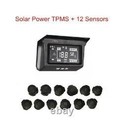 Solar Power Tpms Système De Surveillance De La Pression Des Pneumatiques 12 Capteur Avec Répéteur Pour Camion