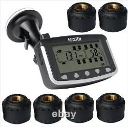 Surveillance De La Pression Des Pneumatiques Système Tpms Capteurs Externes Sans Fil LCD X 6 Caravane