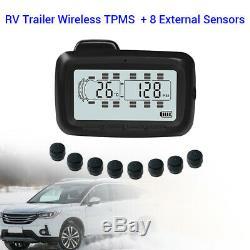 Système De Surveillance De Pression Universel LCD Tpms Pneus 8 Capteurs + Répéteur Pour Remorque