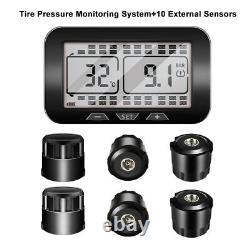 Système Sans Fil De Surveillance De La Pression De Pneus Tpms LCD Pour Rv + 10 Capteurs Externes