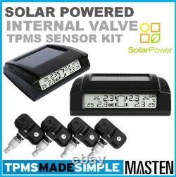 Tpms Solar Power Système De Surveillance De Pression Des Pneus Capteurs Valve Interne LCD X 4