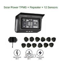 Van Wireless System Solar Power Tpms Pneus Surveillance De La Pression 12 Capteur Avec Répétiteur
